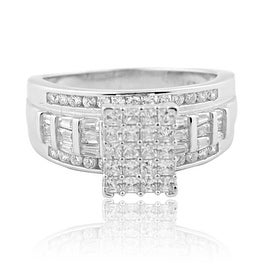 1ctw Bridal Wedding Ring 3 in 1 Style Sterling Silver and CZ 9mm Wide