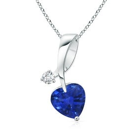 Twisted Heart Shaped Sapphire Necklace with Diamond in 14K White Gold(5mm Blue Sapphire)