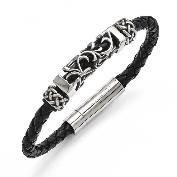 Chisel Stainless Steel Black Leather with Antiqued Beads Bracelet
