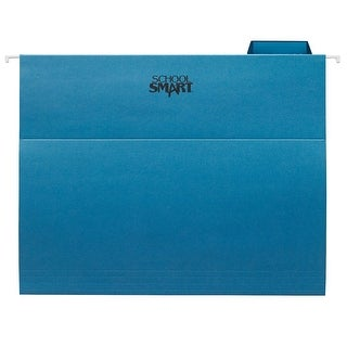 School Smart Hanging File Folder, Letter, Blue, 1/5 Cut Tabs, Pack of 25
