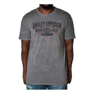 Harley-Davidson Men's Distressed Brawl Premium Short Sleeve T-Shirt, Steel Gray