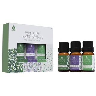 Pursonic 100% Natural Aromatherapy Essential Oils, Eucalyptus, Lavender & Peppermint
