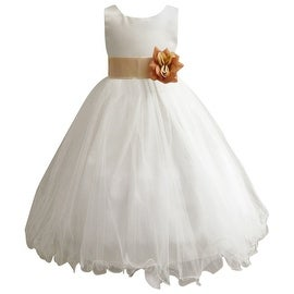 Wedding Easter Flower Girl Dress Wallao Ivory Rattail Satin Tulle (Baby - 14) Champagne