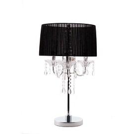 Noble 3 Light Crystal and Chrome Table Lamp Silk Shade Black