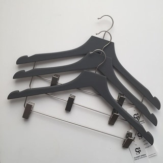 Closet Spice Rubber Coated Wood Suit/Coat Hangers with Clips, Non-Slip with 360º Swivel Hook and Notches - Set of 6 - Grey