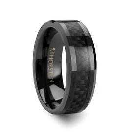 ONYX Black Carbon Fiber Inlaid Black Ceramic Wedding Band