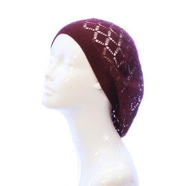Womens Diamond Weave Flower Knit Beanie Lightweight