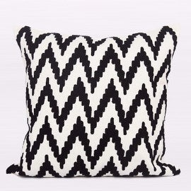 """Gentille Home Collection Luxury Black And White Big Chevron Pattern Throw Pillow 20""""X20"""""""