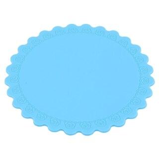 Family Silicone Flower Pattern Desktop Cup Heat Resistant Mat Blue 14.5cm Dia