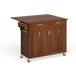 Copper Grove Puff Island Warm Oak Finish with Oak Top Kitchen Cart