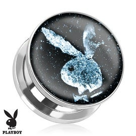 Playboy Bunny Logo in Space Print Screw Fit Plug 316L Surgical Steel (Sold Individually)