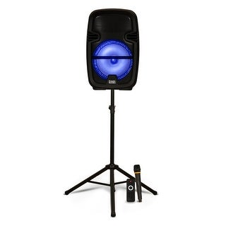 "Acoustic Audio Rechargeable 8"" Bluetooth LED Speaker Portable with Mic & Stand"