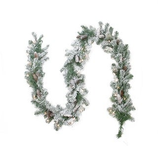 "9' x 8"" Pre-lit Flocked Victoria Pine Artificial Christmas Garland - Clear Lights - Green"
