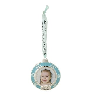 """3"""" Blue and Silver """"Baby's First Christmas"""" Framed Ornament with Crystals"""