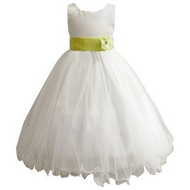 Wedding Easter Flower Girl Dress Paperio Ivory Rattail Satin Tulle (Baby - 14) Green Lime