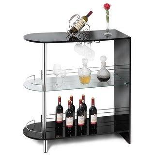 Costway Bar Table Wine Storage Unit w/Tempered Glass Shelf & Glass