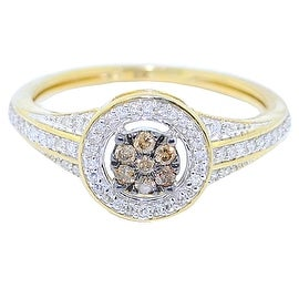 1/4cttw Cognac and White Diamond Engagement Fashion Ring 10K Yellow Gold