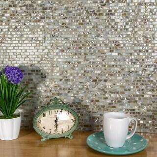 SomerTile 11.75x11.75-inch Seashell Subway Perla Natural Seashell Mosaic Wall Tile (10 tiles/9.6 sqft.)
