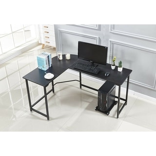 BEECH L-shaped Computer Desk Wood Steel Laptop Workstation Office Home