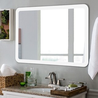 Costway LED Wall-mounted Mirror Bathroom Makeup Illuminated Rounded Arc Corner W/Touch - as pic