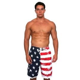 Men's Board Shorts Distressed USA Flag Pride Beach Swimwear Stars/Stripes Trunks with Side Pockets