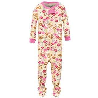 Elowel Little Girls Pink Flamingo Print Zipper Footed Pajama Sleeper 2-5