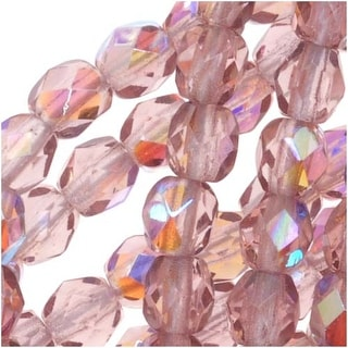 Czech Fire Polished Glass Beads 4mm Round Lt Amethyst AB (50)