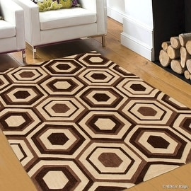 """Allstar Brown Hand Made Modern Transitional Design Area Rug with Dimensional Hand-Carving Highlights (4' 11"""" x 6' 11"""")"""