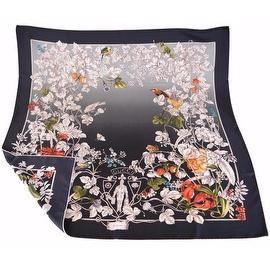 New Gucci Women's 325039 Black Wonder Garden Silk Twill Square Neck Scarf