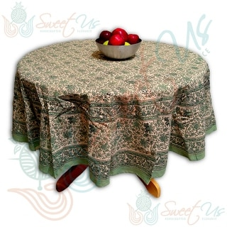 Block Print Tablecloth Rectangle, Square, Round for Dining, Kitchen Cotton Floral Table Linen Green