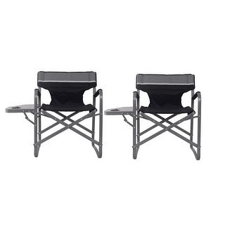 Costway 2PC Folding Director Chair W/Side Table Cup Holder