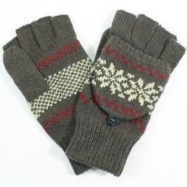 Womens Snowflake Angora Blend Flip Top Mitten Gloves