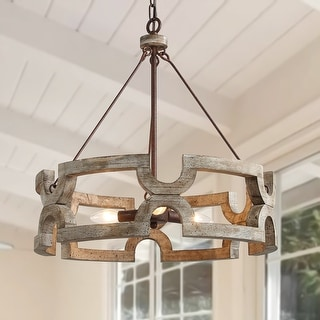 3-ligths Chandelier with Drum Farmhouse Pendant for Kitchen Island