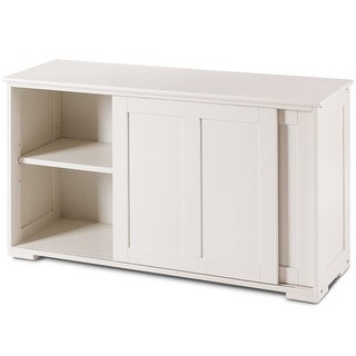 Kitchen Storage Cupboard Cabinet with Sliding Door - White