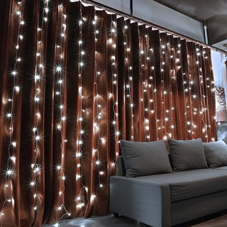 320 LEDs Christmas Window Curtain String Lights, 8 Modes, Warm White/Pure White