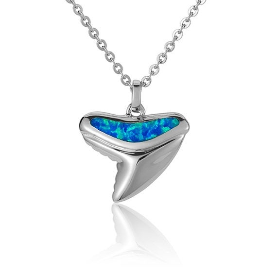 "Shark Tooth Necklace Opal Sterling Silver Shell Pendant 18"" Chain"