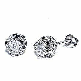 Diamond Earrings 10K White Gold 0.23cttww 7mm Wide Cluseter Screw Back