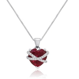 Amanda Rose Sterling Silver Created Ruby and White Sapphire Cross My Heart Pendant-Necklace