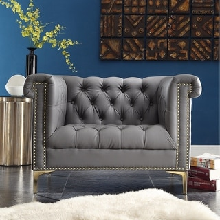 Chic Home Winston Grey Chrome/ Leather Button-tufted Lounge Chair