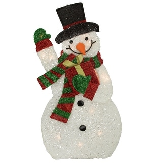 """32"""" White and Red Lighted Waving Snowman Outdoor Christmas Decor"""