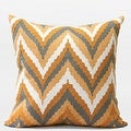 Gentille Home Collection Luxury Yellow Big Chevron Embroidered Pillow 20