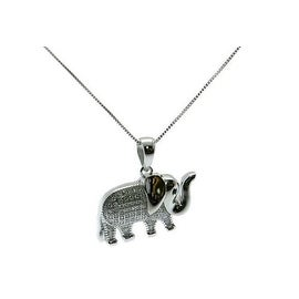 925 Sterling Silver Elephant Pendant with Italian Made 925 Sterling Silver Box Chain