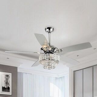 52-inch Chrome 4-light Crystal Shade Ceiling Fan