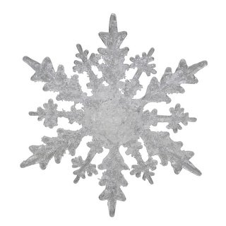 """4.25"""" Clear and White Frosted Hanging Christmas Snowflake"""