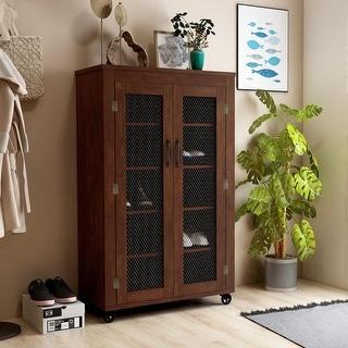Furniture of America Layson Mobile Vintage Walnut Industrial 5-Shelf Cabinet