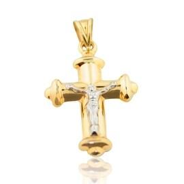 10K Yellow Gold Crucifix Cross Pendant 28mm Tall