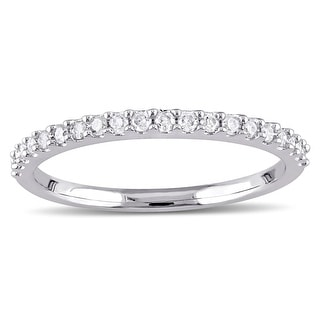 Stackable 10k White Gold 1/5ct TDW Diamond Wedding Band by Miadora