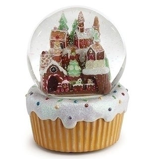 """Set of 2 Musical Gingerbread Village with Rotating Train Christmas Glitter Dome 7"""""""