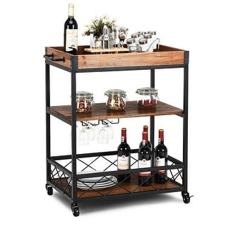 Costway 3 Tier Rolling Kitchen Trolley Island Cart Serving Dining Storage Shelf Utility