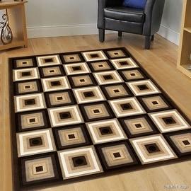 "Allstar Brown Squares Modern Geometric Area Rug (5' 2"" x 7' 2"")"